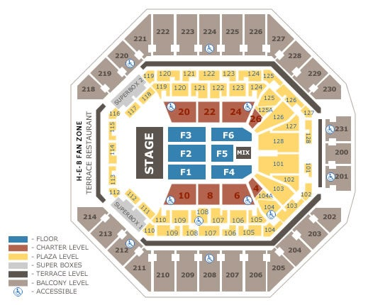Seating charts at t center for Dining near at t center san antonio